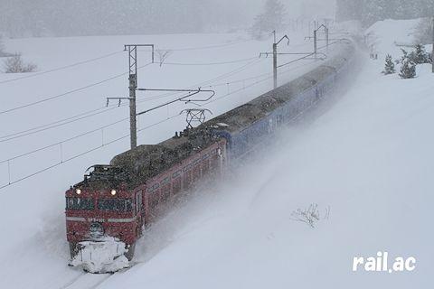 雪国を行くローズピンク色EF81牽引日本海