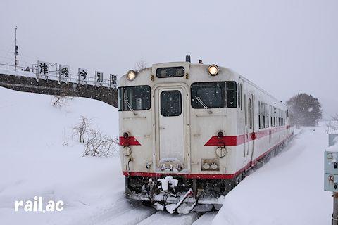 2013年2月に津軽二股駅から見た津軽今別駅
