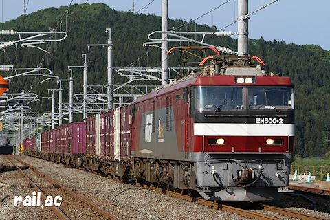 海峡線を行くEH500牽引貨物列車
