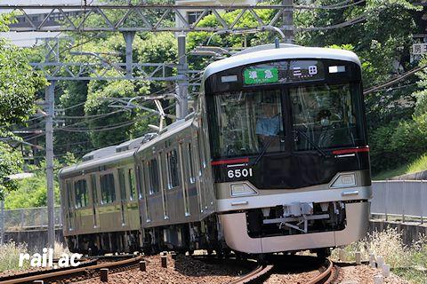 公園都市線への送り込みで準急新開地発三田行に運用された初日の6500系