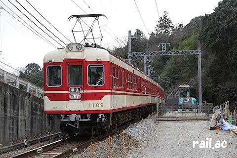 神鉄粟生線藍那駅付近の折り返し設備新設工事の様子