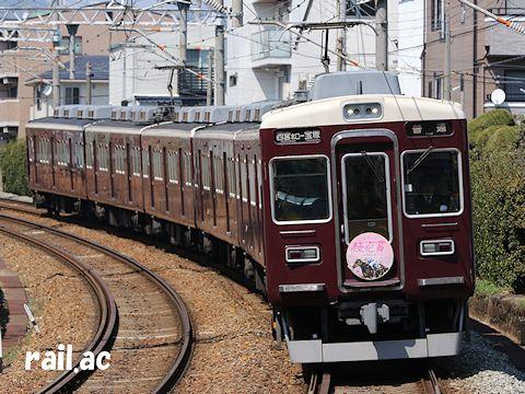 阪神競馬場桜花賞ヘッドマークを掲出して走る5010×6R