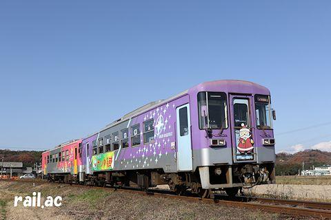 北条鉄道サンタ列車(往路サンタ列車車両先頭ヘッドマーク付)